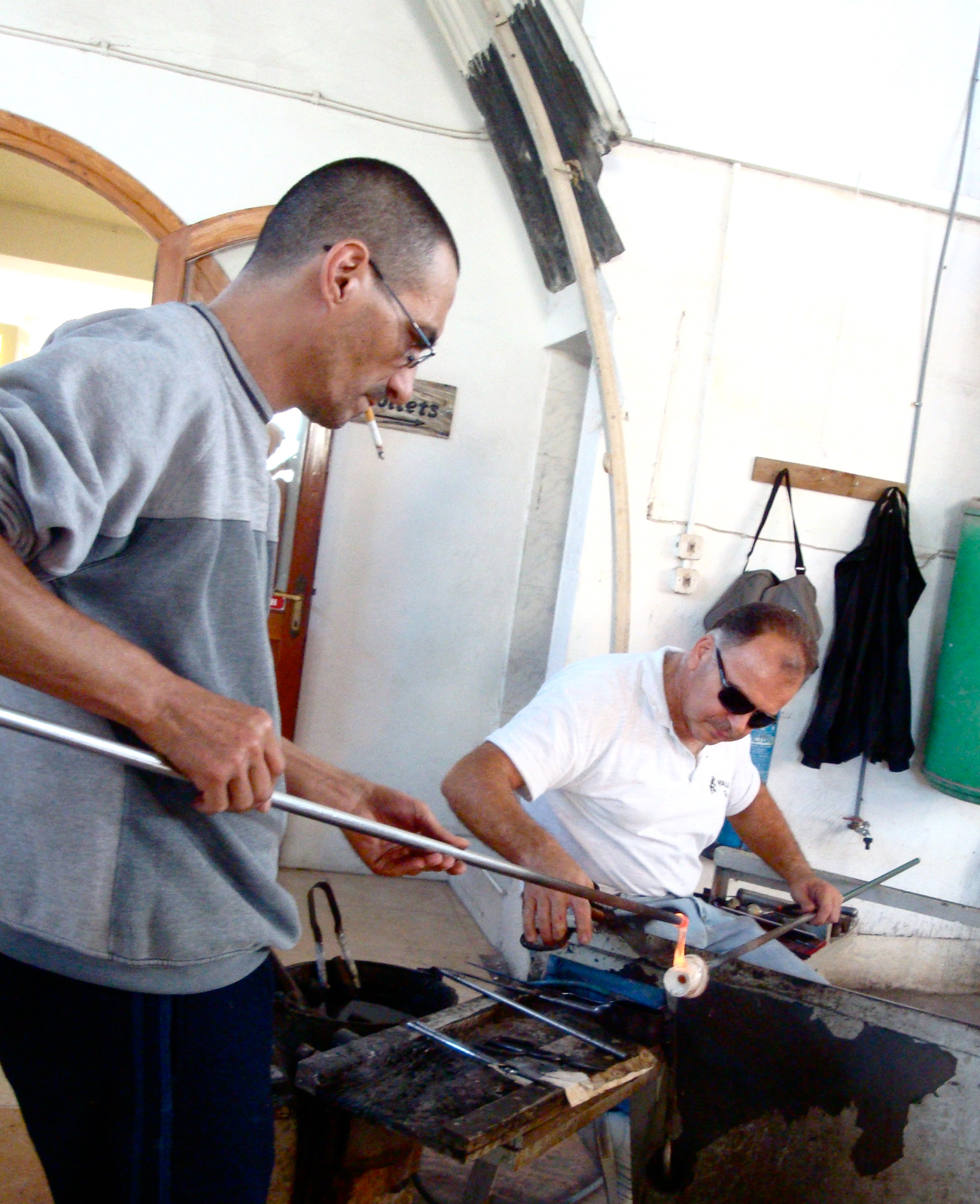 Glassblowers at the Valetta shop