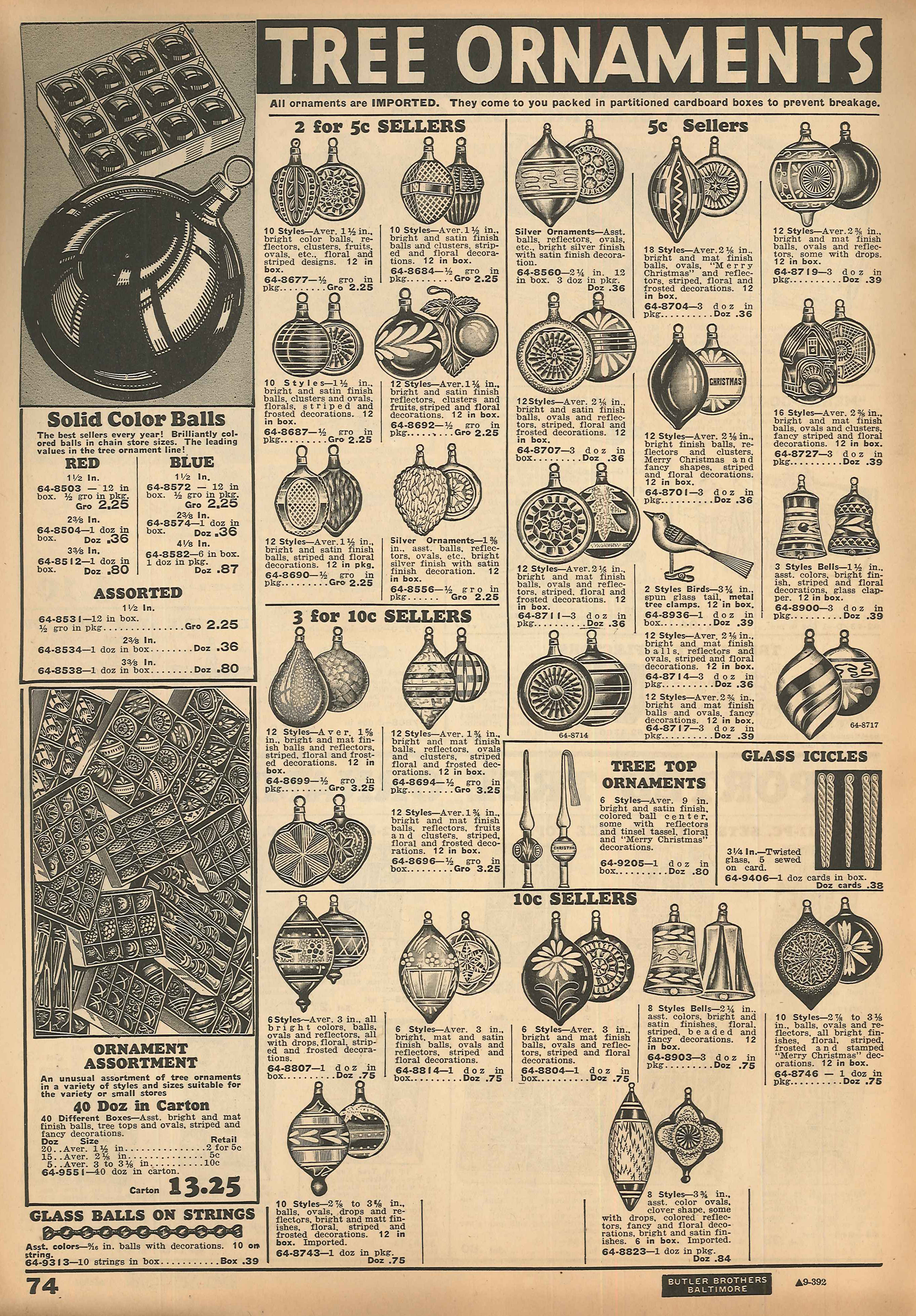 Christmas ornament catalogs - 1934 Butler Brothers Catalog Bib No 96000 Page 74 Note The Statement Under The Tree Ornaments Heading All Ornaments Are Imported