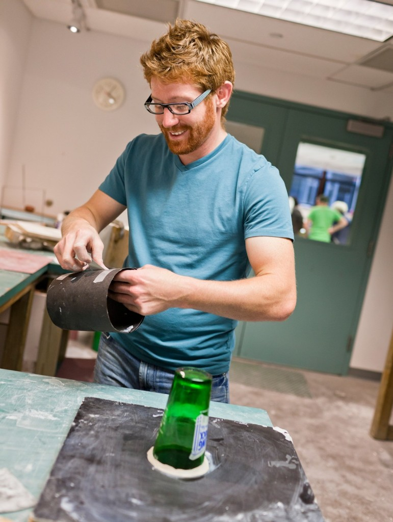 Dane Jack making a mold at The Studio of The Corning Museum of Glass