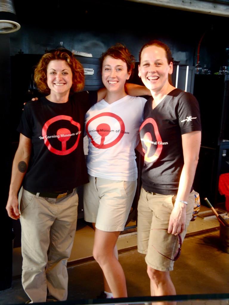 The CMOG Celebrity Solstice lady glassblowers. Laurie Kain, Ryan Doolittle, and Helen Tegeler.