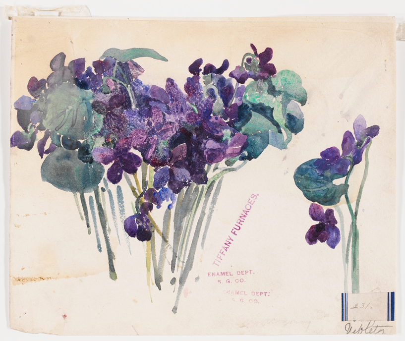 Violets design drawing for Tiffany furnaces by Alice C. Gouvy and Lillian A. Palmié
