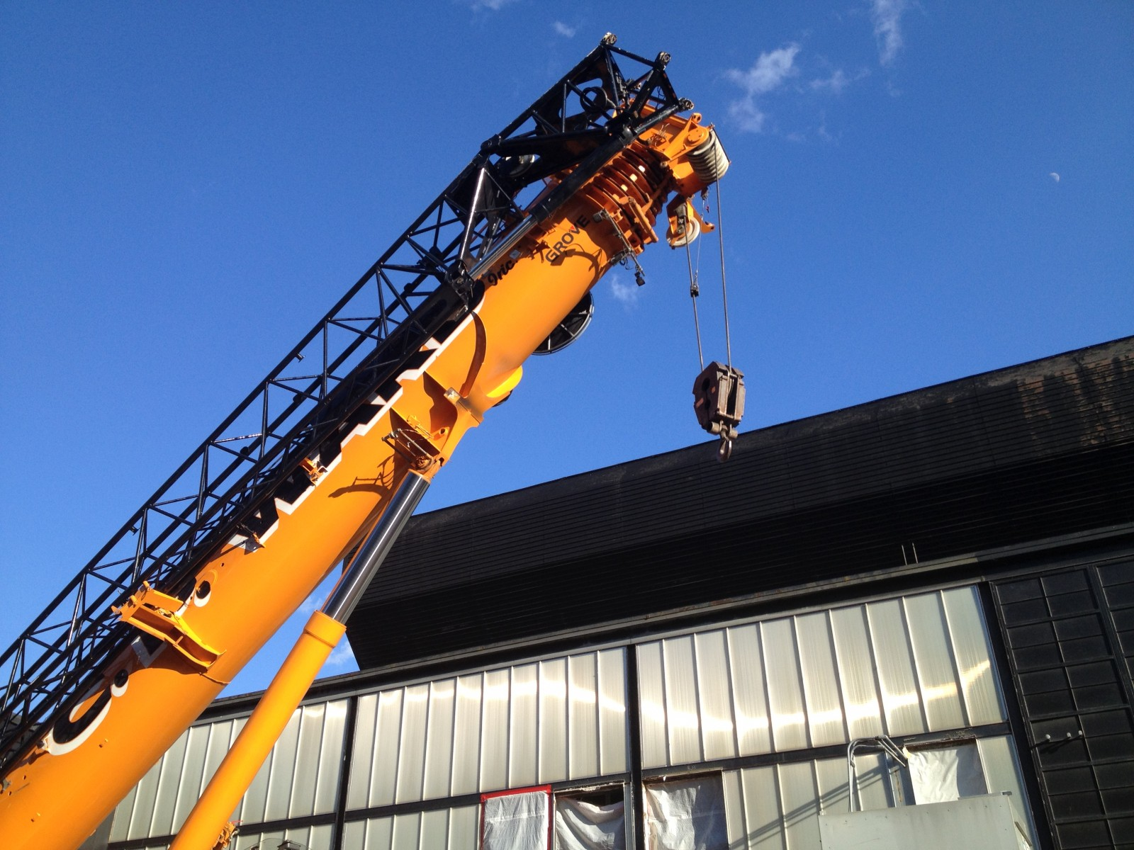 Crane at the construction site to bring in a new Museum air handler