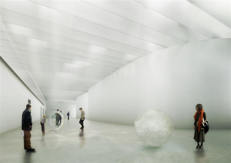 New contemporary gallery featuring daylighting in the corning museum of glass north wing expansion