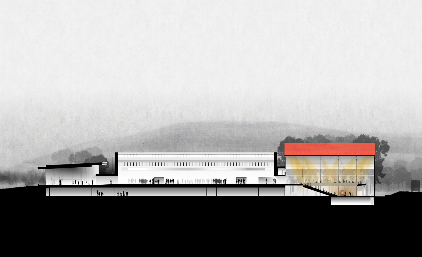 Cross section of the corning museum of glass north wing expansion