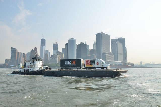 Corning Museum of Glass mobile hot shop GlassLab passes Manhattan in New York harbor