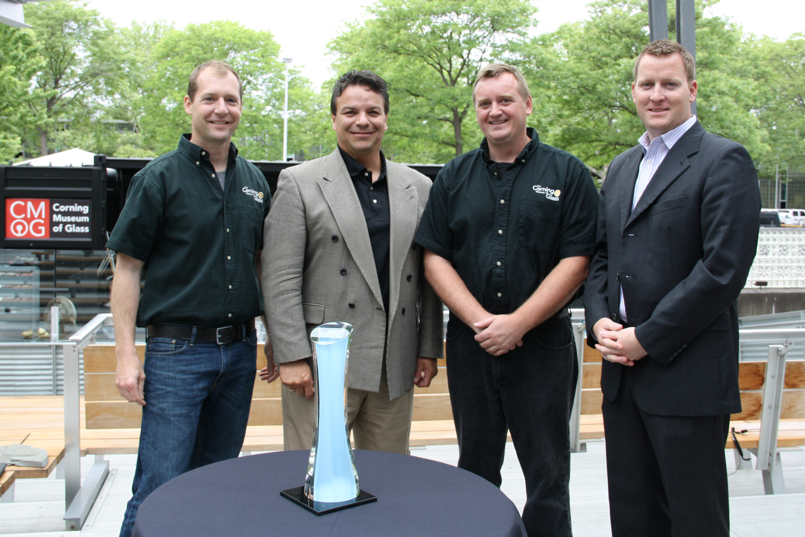 Eric Meek, Michael Printup, George Kennard, and Ryan Mosher at the unveiling of the NASCAR Sprint Cup trophy