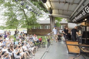 Crowds watch GlassLab at Governors Island
