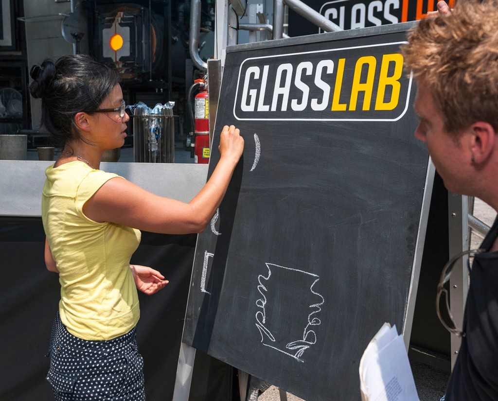 Designer Helen Lee sketches her design for GlassLab