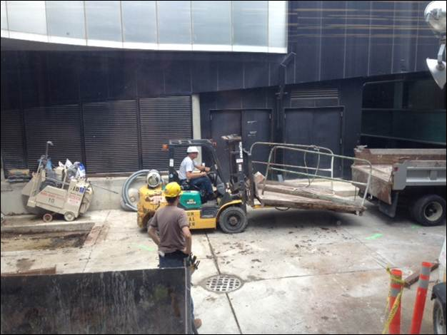 Construction on the new loading dock