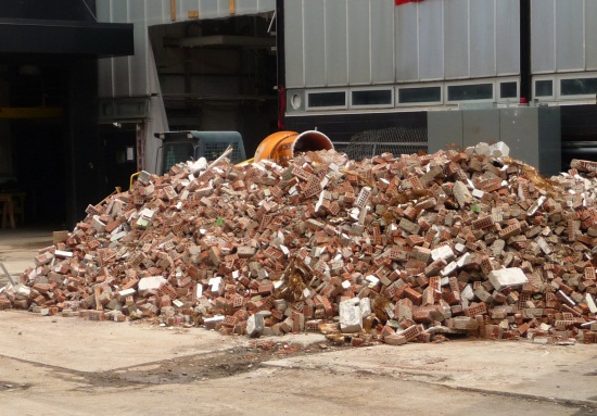 Brick sorted to be recycled