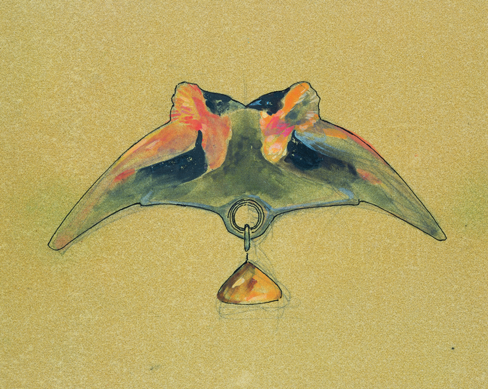 Original design drawing of pendant with two birds, René Lalique