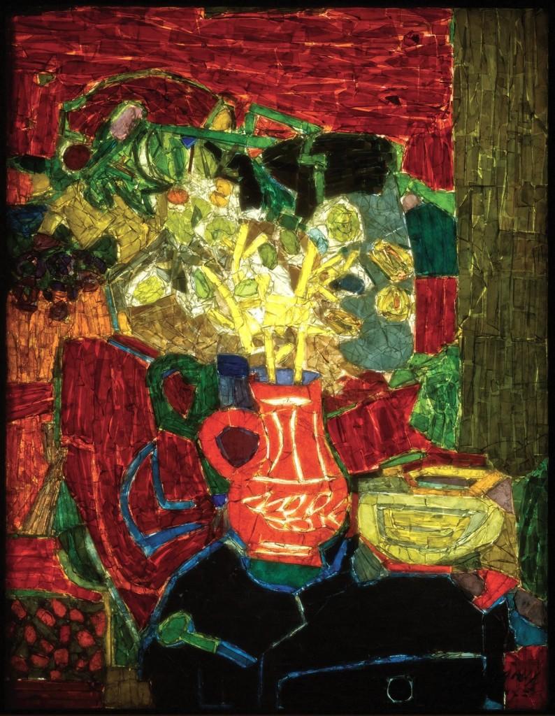 Nature Morte aux Fleurs (Still Life with Flowers), Roger Bezombes, France, Paris, Les Gemmaux de France studio, about 1954, H: 64.8cm, W: 50.8 cm (93.3.15, gift of Pittsburgh Plate Glass Co.)