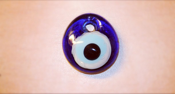 An evil eye bead from The Glass Furnace