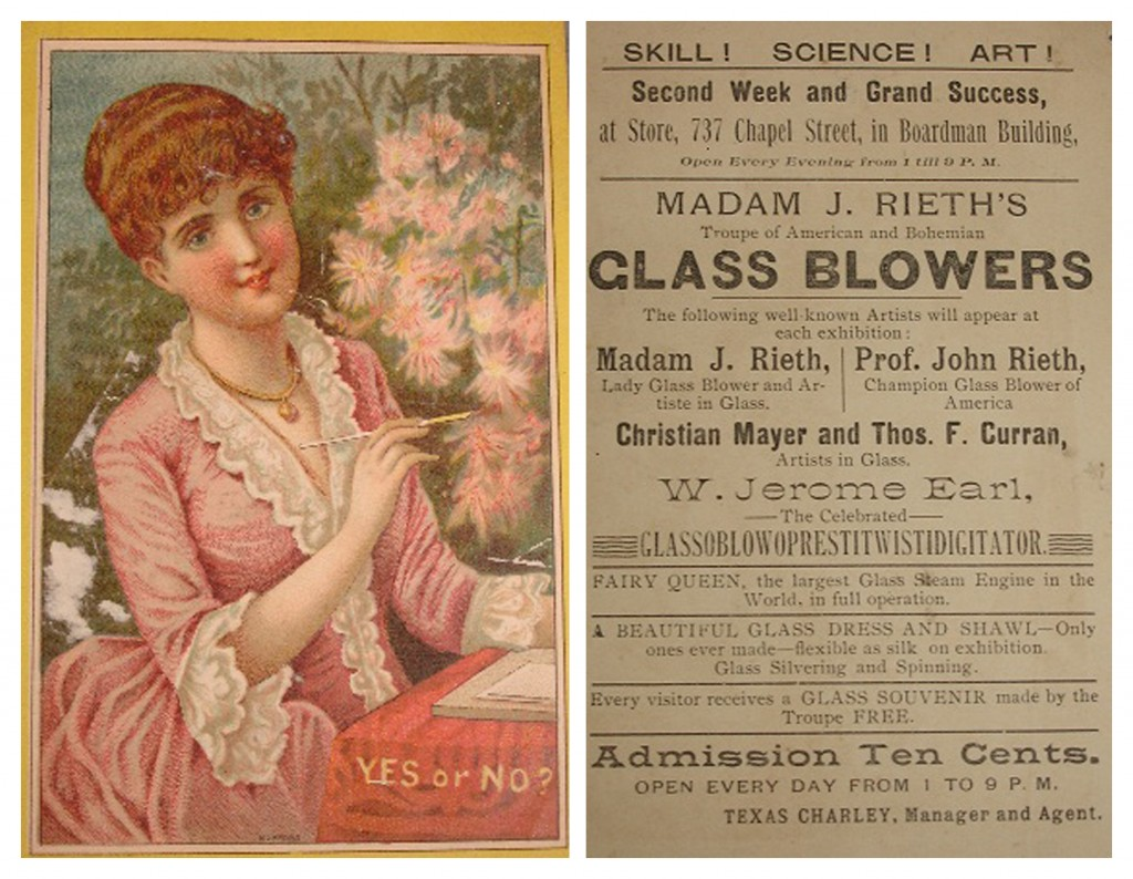 Madam J. Rieth's troupe of American and Bohemian glass blowers advertising card, bib no. 112398