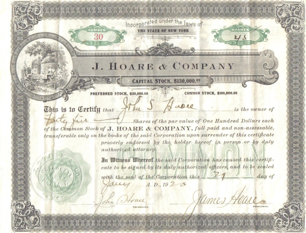 J. Hoare & Company stock certificate dated January 29, 1920, bib no. 92684