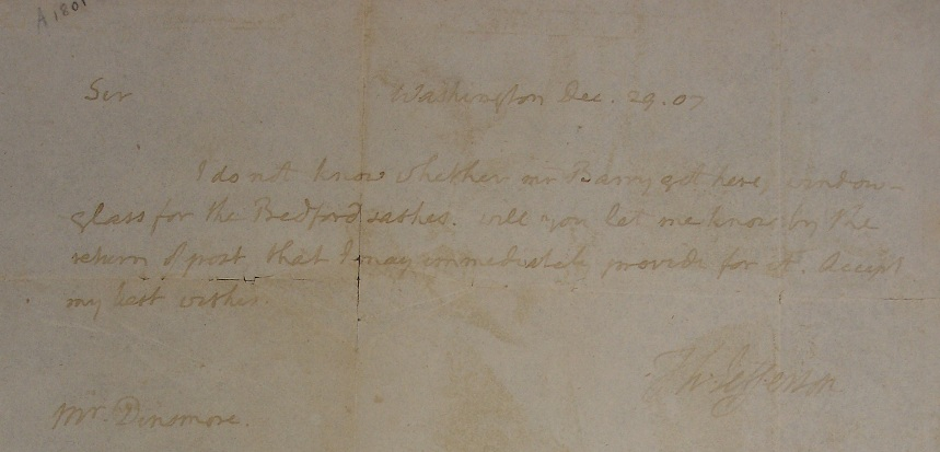 Letter from Thomas Jefferson to James Dinsmore dated December 29, 1807, bib no. 126520