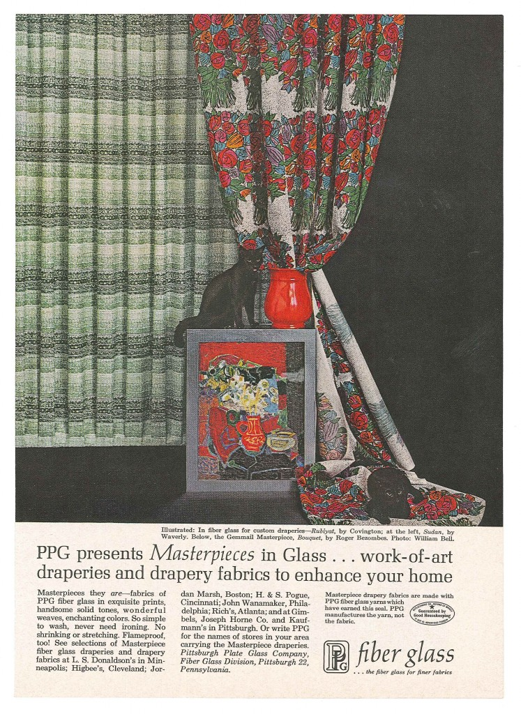 A 1961 Pittsburgh Plate Glass Company advertisement depicting the gemmail panel, Nature Morte aux Fleurs (Still Life with Flowers), Roger Bezombes (French, 1913-1994), France, Paris, Les Gemmaux de France studio, about 1954, H: 64.75 cm x W: 50.75 cm.  (93.3.15, gift of Pittsburgh Plate Glass Co.)  (Rakow Library bibliographic record number 131016)