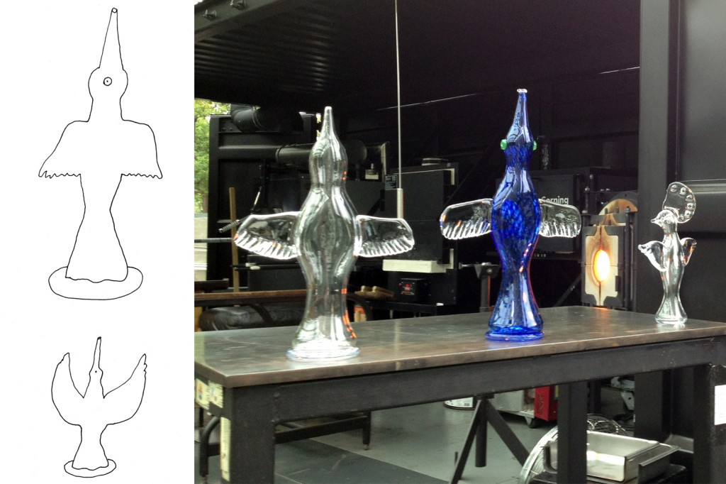 Design sketch and finished prototypes by Peter Sis for GlassLab