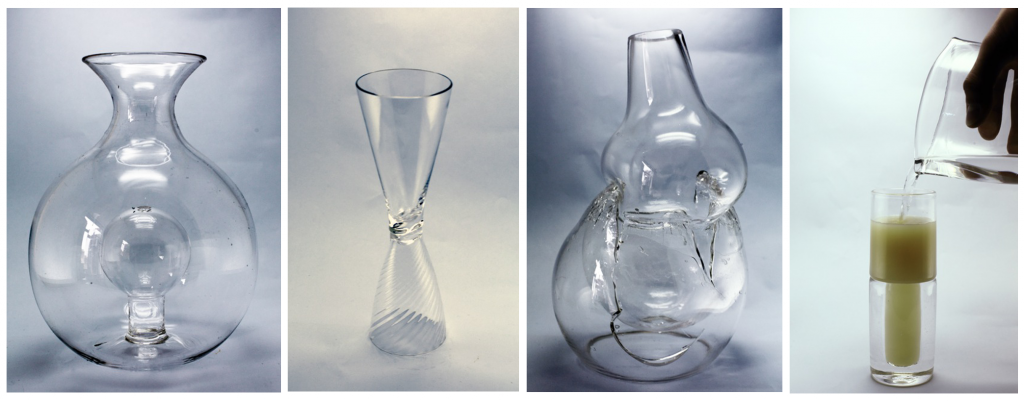Anne-May Abel, Reversible Volume in Volume Vase; Chao Nan-Kai,'Ripple Reflection' double flute, Andreas Muller Eissing, Double Bubble Explosion Vessel, Damien Ummel and Thierry Didot, 1: 4  Pastis Mixer Glass.