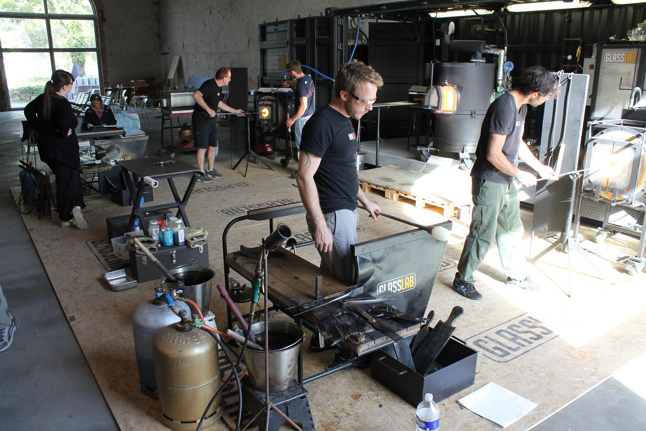 Prototype designs underway on the GlassLab container set up in the Boisbuchet barn. Photo: © Ana Vinuela Lorenzo