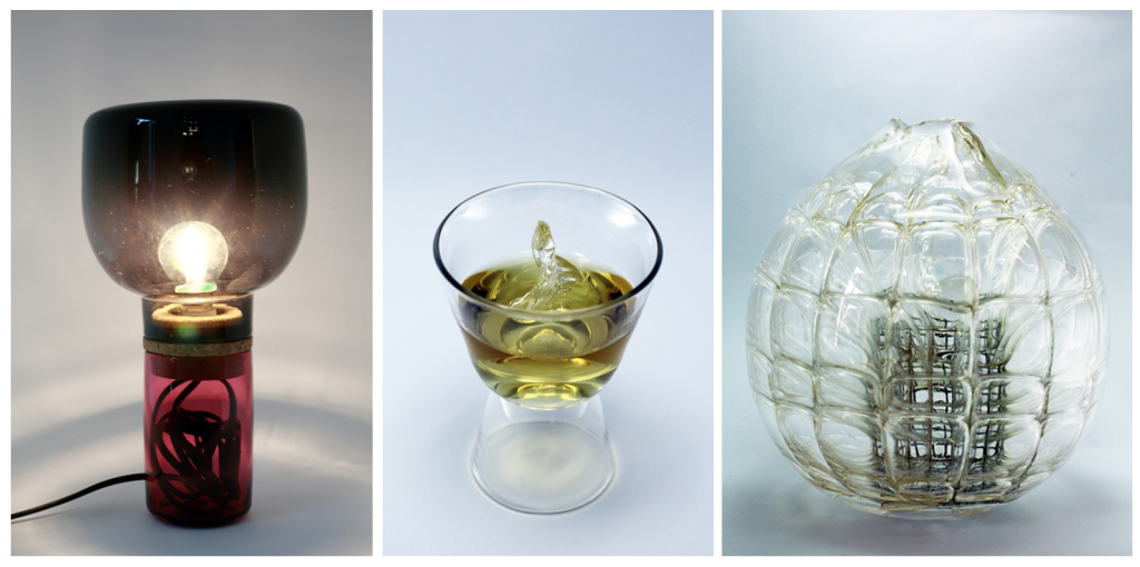 Damien Ummel and Thierry Didot, Table Lamp w/ cord enclosure; Chao Nan-Kai, 'Leaf Twist' double green tea glass; Wolfram Solter, Wire Cage in Cage exploration. Photos courtesy of: Domaine de Boisbuchet © Alessandro Fedeli 2012