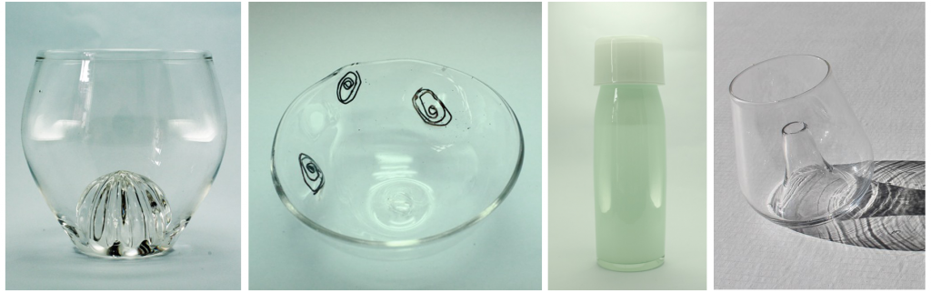 Marlène Gourounas, Lemon Juice Squeezer w/ Perrier glass; Amandine Ansart, Fingerprint Dish with encased copper; Anne Schirner, Carafe with self centering drinking glass; Juan Ruiz-Rivas,'Volcano' finger glass.