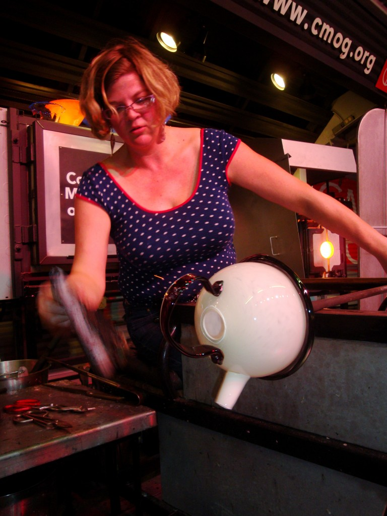 Nadine Saylor putting the final touches on her 3 part teapot.