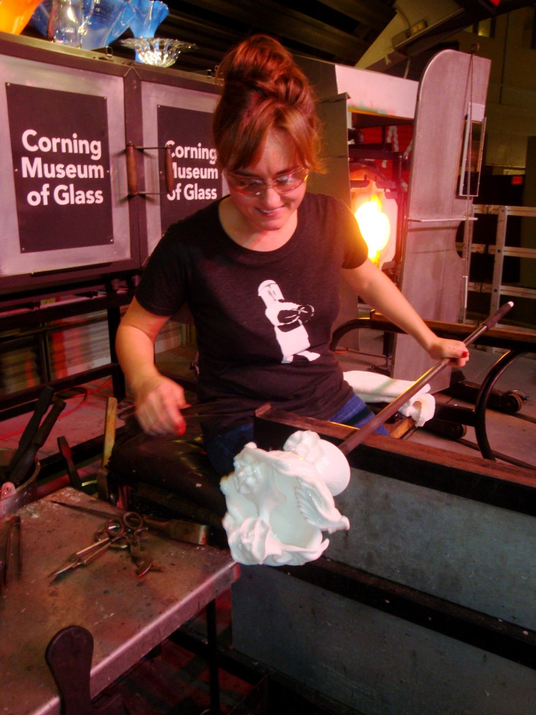 Amber Cowan reconstructing pieces of vintage white pressed glass.