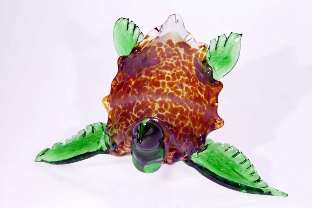 A glass sea turtle