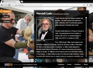 Screenshot of Wendell Castle's bio on cmog.org/glasslab