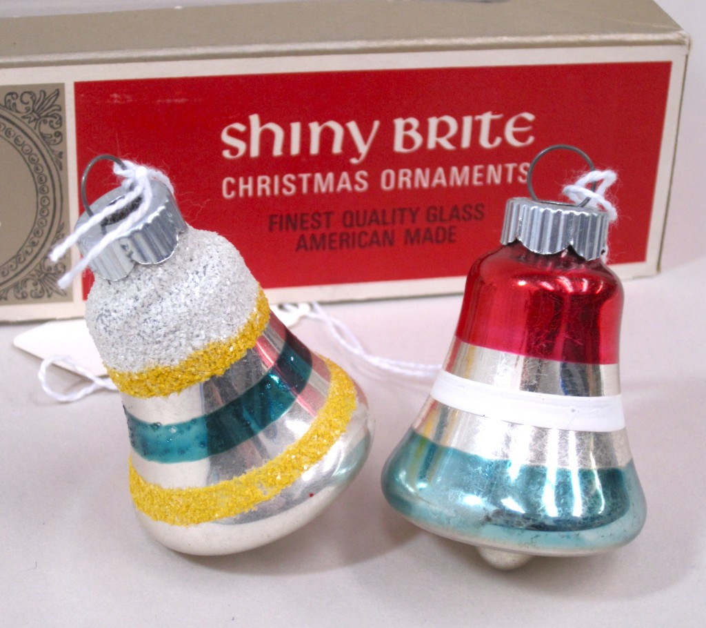"Bell-shaped ""Shiny Brite"" glass ornaments"