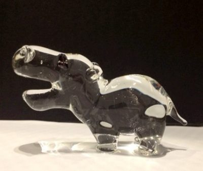 Flameworked glass hippo made during a demo at the CMoG