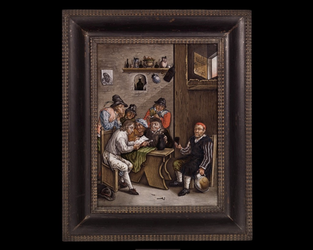 Reverse Painting Depicting a Rural Tavern Scene