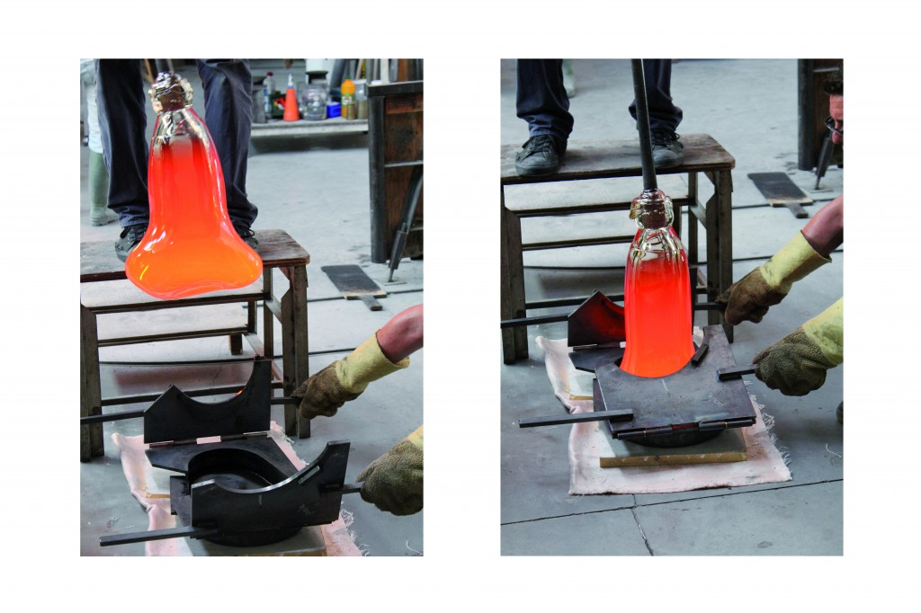 The gather of molten glass is placed into the first section of the multi-part mold. Photography credit: Sylvain Willenz / Victor Hunt Designart Dealer.