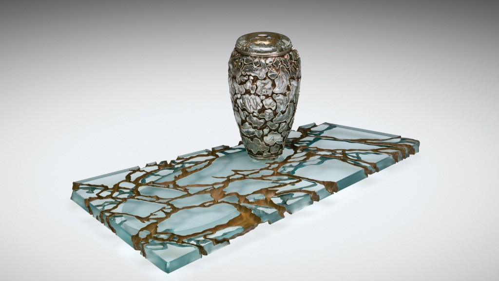 "Crystal Obscura, Michael Glancy (American, b. 1950), United States, Rehoboth, Massachusetts, 1998. Blown glass, ""Pompeii"" cut; electroformed copper. H. approx. 12 in, W. approx. 24 in. Collection of The Corning Museum of Glass, 2012.4.168, gift of Dan Greenberg and Susan Steinhauser."