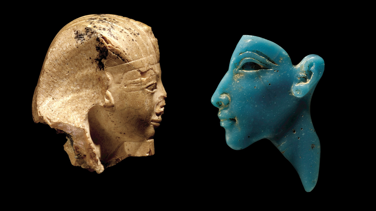 Portrait of King Amenhotep II and Portrait Inlay of the Pharaoh Akhenaten