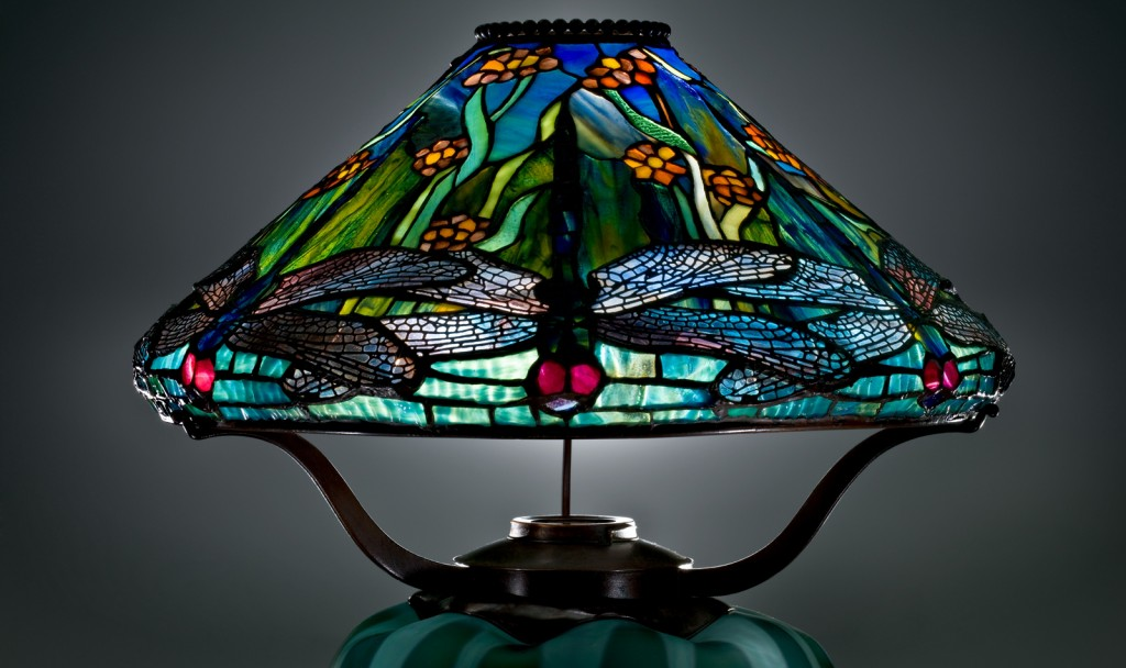 Detail of Reading Lamp with Dragonflies and Water Flowers, Clara Pierce Wolcott Driscoll (American, 1861-1944) for Louis Comfort Tiffany (1848–1933). United States, Corona, New York, Tiffany Studios, 1899. Cut glass shade with lead came, cast bronze fittings, blown, acid-washed base, assembled. H: 46.8 cm, Diam (max): 41.3 cm. (2013.4.4)
