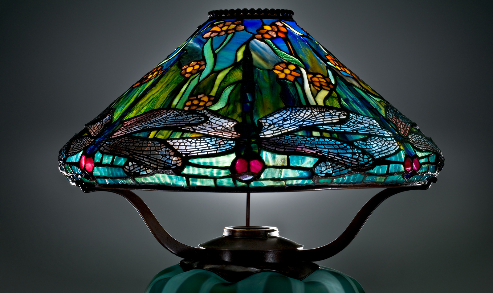 tiffany lamp shade. Detail Of Reading Lamp With Dragonflies And Water Flowers, Clara Pierce Wolcott Driscoll (American Tiffany Shade