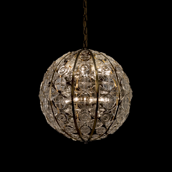 Crystal Sphere Chandelier, Ingeborg Lundin (Swedish, 1921–1992), for Orrefors Glasbruk, Kalmar, Sweden, designed about 1962–1963, made about 1963–1967. Pressed, assembled. Diam: about 61 cm. Collection of The Corning Museum of Glass, 2012.3.25.