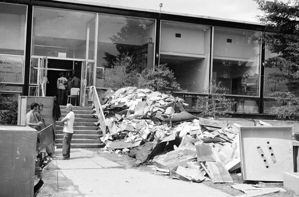 Debris piled outside Museum Rakow Research Library, The Corning Museum of Glass, photographer unknown