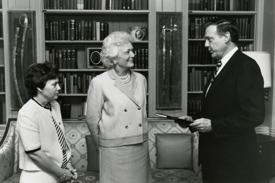 Jane with Barbara Bush at the White House