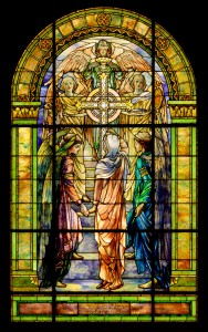 The Righteous Shall Receive a Crown of Glory, Frederick Wilson (1858–1932) for Louis Comfort Tiffany (1848–1933). United States, Corona, New York, Tiffany Studios, about 1901. Handmade colored and opalescent sheet glass, textured glass, cut and assembled, painted; lead came. H: 406.4 cm, W: 252.7 cm. (96.4.230, gift of Mr. and Mrs. Bruce Randall)