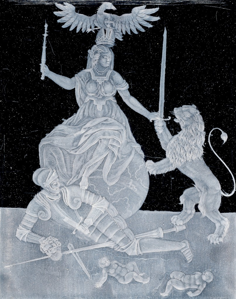 Peace triumphing over War, Caspar Lehmann (German, 1563/1565-1622), Czech Republic, Stredocesky, Prague, about 1609. Sheet glass, polished, grozed, engraved. H: 23 cm; W: 18.9 cm. Collection of The Corning Museum of Glass (86.3.100)
