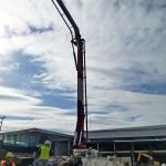 The concrete pump is stabilized