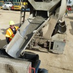 Concrete coming out of the truck into the pump