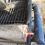 Concrete goes into the pump