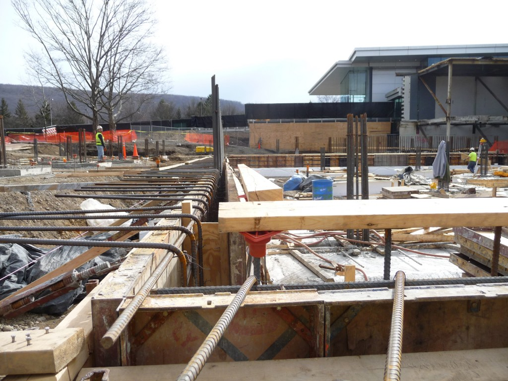 The wall forms ready to be filled with concrete.