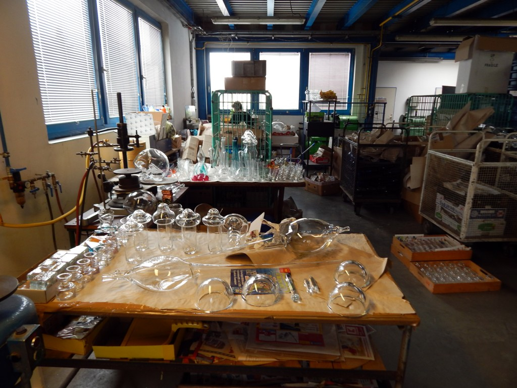 Blown glass objects to be finished