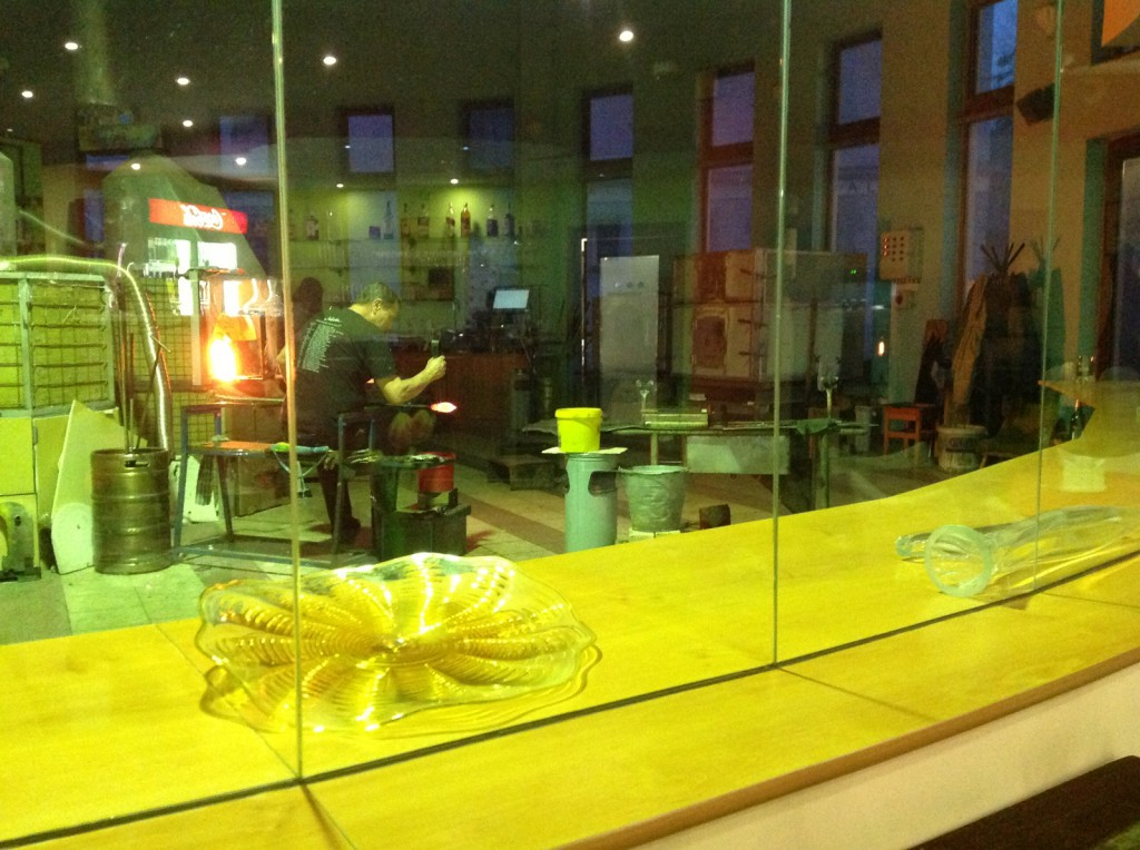 The view of the glass shop from the dining room at Ajeto.