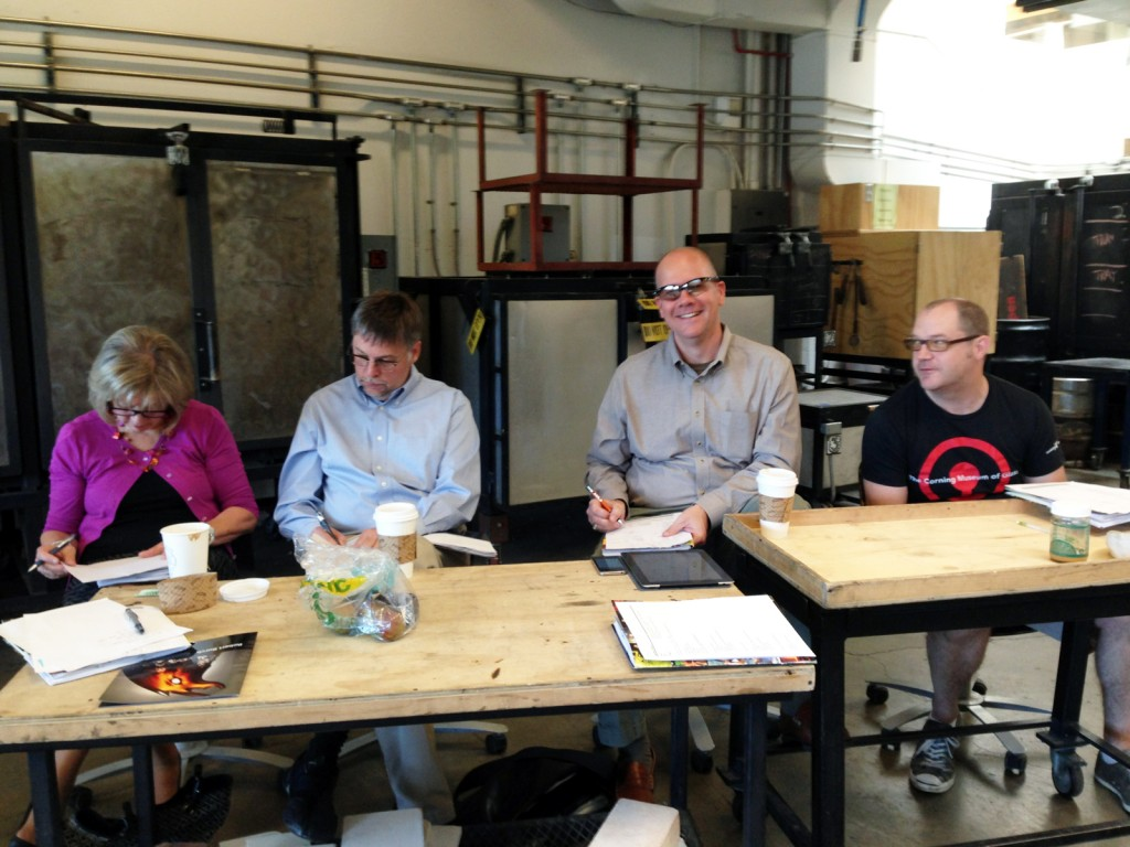 Candidates audition in front of a panel of CMOG judges. From left to right: director of human resources Ellen Corradini, senior manager of Hot Glass programs Steve Gibbs, Hot Glass logistics & ship supervisor Dan DeRusha and Hot Glass Show team leader Lynn Read.